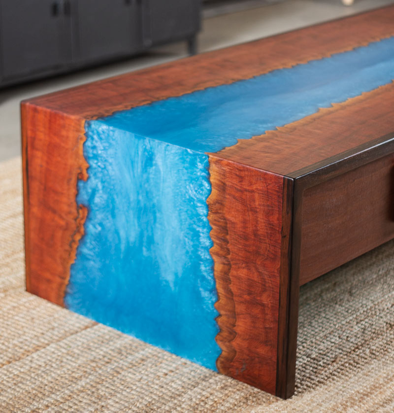 Custom resin coffee table river blue