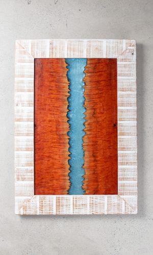 river board framed wall art blue epoxy resin