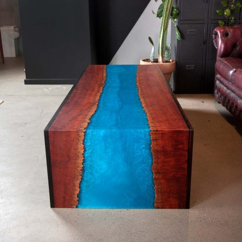 Australian made resin coffee table Gold Coast blue